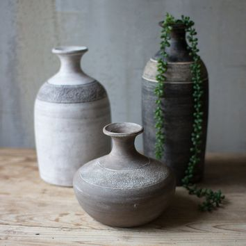 Black Grey and White Clay Vessels (Set of 3)