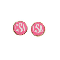 Hot Pink Monogrammed Earrings Silver or Gold