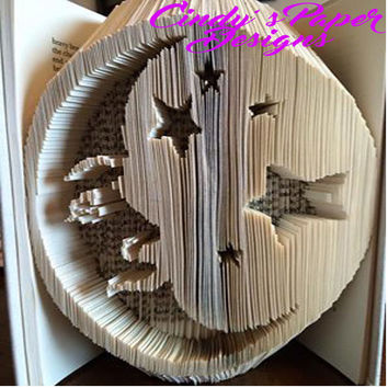 Folded Book Art Pattern Moon and Stars Pattern Nursery Decor Unique Gift Book Origami Pattern Book Folding