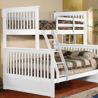 White Wood Twin Over Full Size Convertible Bunk Bed