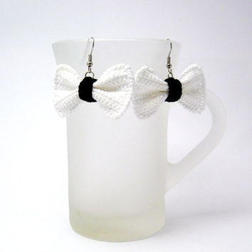 White Crochet Bow Earrings with Black Fabric Jewelry by Aimarro