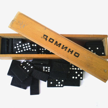 Vintage large wooden domino set soviet domino board game collectible game kids toy gift game gift retro domino mid century domino game 80s