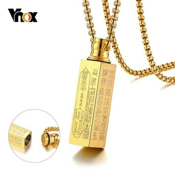 Vnox Hollow Tube Taoism Prayer Scripture Pendant for Men Women Stainless Steel Urn Cremation Openable Necklace Male Punk Jewlery