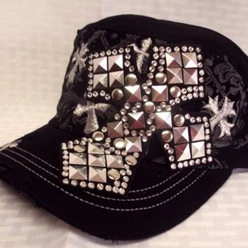 Sassy Strands Bling Hat Black/Cross | sassystrandsjewelry - Accessories on ArtFire