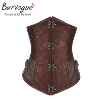 Burvogue New brown black corset gothic string sexy corset&bustiers underbust women waist training corselet cincher top