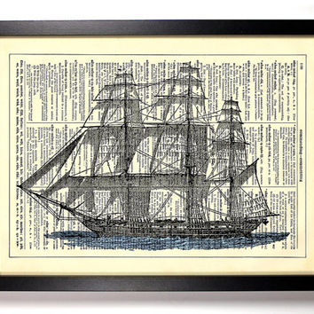 Sail Boat Vintage Illustration, Eco Friendly Home, Kitchen, Bathroom, Nursery Decor, Dictionary Book Print Buy 2 Get 1 FREE