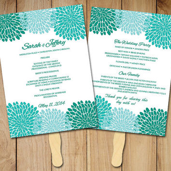 Chrysanthemum Wedding Fan Program Template - Printable Ceremony Program - Sea Green Spearmint Wedding Program Favor - Order of Service