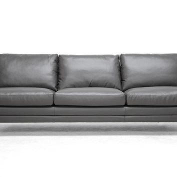 Baxton Studio Dakota Pewter Gray Leather Modern Sofa Set of 1
