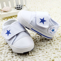 2015 new born baby shoes first walker Red velcro baby canvas shoes star leather Baby Boy Shoes infant girls for 0-18Months