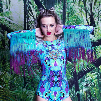 Fringed Lycra Festival Bodysuit with long sleeves. Playsuit, colourful, blue, purple, mint, green.