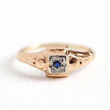 Vintage Sapphire Ring - 10k Rose & White Gold Gold Genuine Gemstone Jewelry - Size 5 Art Deco 1930s Dainty Fine Baby Children's Jewelry