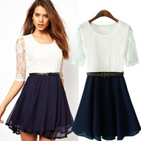 Lace Chiffon Half Sleeve Belted High Waist A-Line Mini Skater Dress