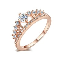 Fashion Women Princess Queen Engagement Rings with Clear Crystal Rings Silver Rose Gold Color Wedding Rings