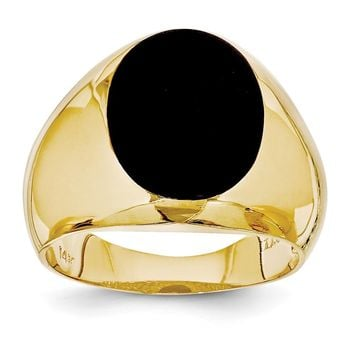 14k Yellow Gold Men's Onyx Ring