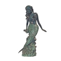 SheilaShrubs.com: Goddess of the Sea, Mermaid of the Isles Spitting Bronze Garden Statue SU1866 by Design Toscano: Garden Sculptures & Statues