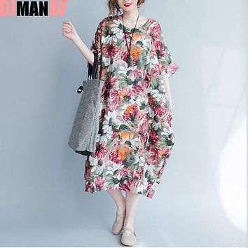 DIMANAF Plus Size Women Summer Dress Sunflower Floral Print Trend Linen Large Size Female Casual Fashion Long Vintage Dresses