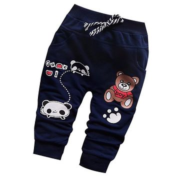 Spring 2016 new British fashion high-quality cotton cute bear pattern 0-2 year baby pants for baby boy girls pants