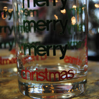 Vintage Christmas Glass Merry Christmas Vintage Barware Rocks Glasses Green and Red/FWB