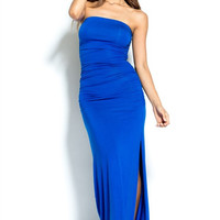 Dianara Royal Blue Ruched Maxi Dress