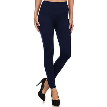 Warm Fuzzy Feeling High Waist Fleece Leggings NAVY
