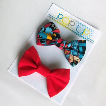 Superman Hair Bows Set / Comic Book Hairbows / DC Comics Bow Clips / Red Hair Bow Pack / Man of Steel / Superhero Hairbow / Geekery / Geek