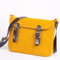 Harris Tweed Mini Satchel Yellow by breagha on Etsy