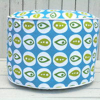 Turquoise pouf ottoman floor pouf in 18 bean bag by anitascasa