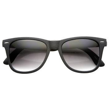Retro Horned Rim Textured Frame Sunglasses 9684