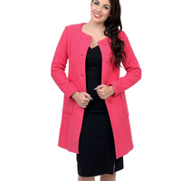 Fuchsia Textured Button Up Coat