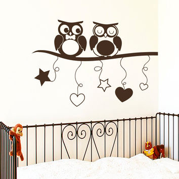Wall Decal Owls on Branch Night-Bird Design Decals for Kids Nursery Baby Room Bedroom Playroom Vinyl Stickers Home Decor Murals 3826