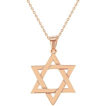 Rose Gold Plated Religious Jewish Star Of David Pendant Necklace 18""