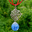Spiderman Web Blue Fried Marble Charm Red Necklace by KatieDidsx3