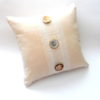 Lace and Button Shabby Chic Slipcover, 14X14 Decorative Pillow, Cream, Wooden Look, Silver Embossed Detail, Sweet Girls Room