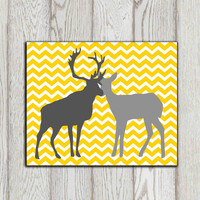 Yellow gray deer decor Yellow grey chevron Home decor Large deer art Couple in love Stag Doe 20x16, 8x10 Customize print  INSTANT DOWNLOAD