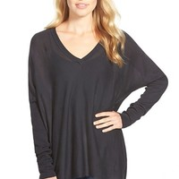 Women's Press Cotton & Modal Boxy V-Neck Sweater,