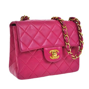 Auth CHANEL Quilted CC Logos Chain Shoulder Bag Pink Leather Vintage SN00978