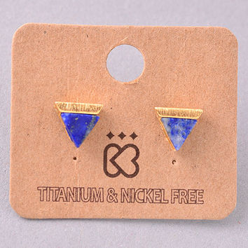 Triangle Gold and Stone Stud Earrings - Navy Blue