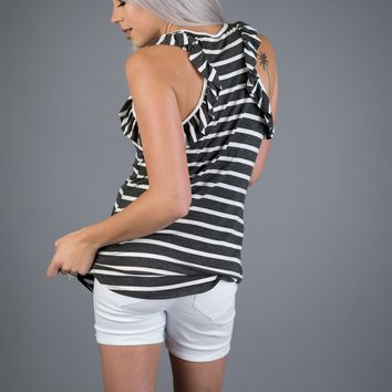 Charcoal and Ivory Striped Ruffled Tank
