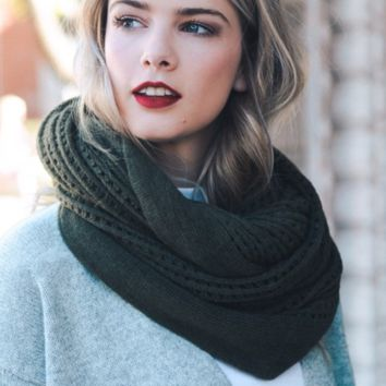 Olive Grid Design Infinity Scarf