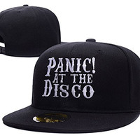 HAIHONG Panic At The Disco Band Logo Adjustable Snapback Embroidery Hats Caps - Black