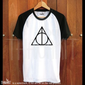 Harry Potter TShirt - Deathly Hollows Tee Shirt Raglan Tee Baseball Shirts Size - S M L XL 2XL 3XL