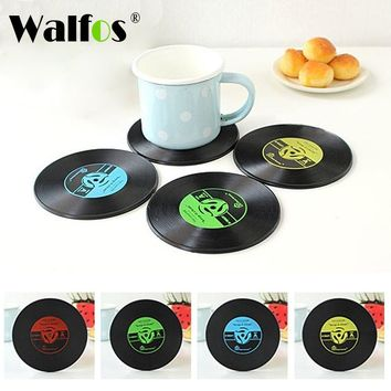4Pcs/set Retro Vinyl CD Record Drinks Coasters Table Cup Mat Coffee Placemat Silicone Printed Pattern Anti-fade Home Decor