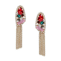 Multicolor Rhinestoned Tassel Earrings