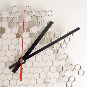 Wooden Honeycomb clock version ONE - wall clock - modern lasercut clock - beehive - hexagonal geometric clock