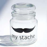 My Stache jar....the Villian Mustache Glass Jar...a perfect place for your 'STACHE' - medium jar