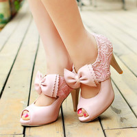 Fashion lace bowknot high-heeled sandals 8461XM