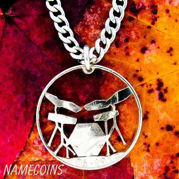 Electric Drum Set Necklace, Rockers jewelry hand cut coin by NameCoins