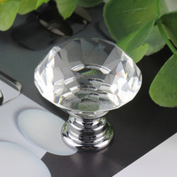 30mm Crystal Diamond Door Knob Kitchen Furniture Handle Glass Drawer Cabinet Drawer Pulls Closet Decoration Crystal Knobs