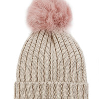 Jocelyn Pink Shearling Lamb Pom Hat - INTERMIX®