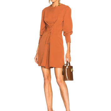Tibi Lace Up Dress in Rust | FWRD